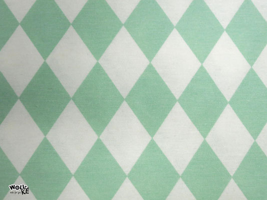 Pastel Diamonds mint (75% BW, 25%Polyester)