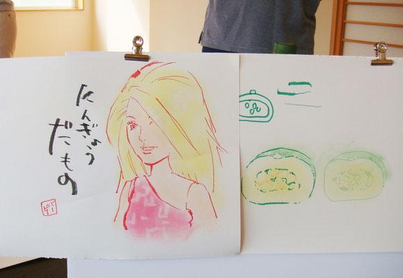 先生はサラッとバービーちゃんで一枚。説明しながら描いてくださったものがすごい…!