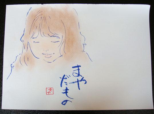 先生が、描いている子供をモデルにサラサラッと。