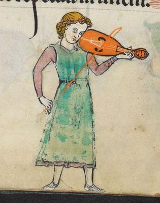 Jeune musicien, Psautier Rutland, 1260