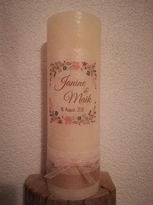 Nr. 5, Hochzeitskerze mit Druck, 53 €