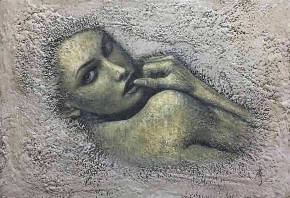 繭 Cocoon Oil on canvas 158x227mm 2003