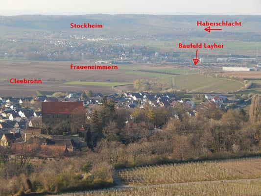 Der eigentliche Postkartenblick vom oberen Weg Michaelsberg mit Schloss Magenheim. Blick getrübt bereits durch neuen Riegel von 2019. Layher Werk 3 wird noch größer. Insbesondere Cleebronn und Frauenzimmern sind im Einfluss des Werks