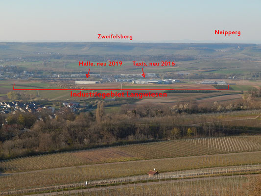 Die gesamte Breite vom Industriegebiet Langwiesen. Die Sicht ist verbaut und wird noch mehr verbaut. Zu sehen auch vom Zweifelsberg