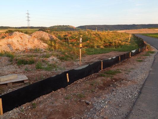 Mehrere hundert Meter wurde der Krötenschutzzaun ums Gelände errichtet. Hier ein Abschnitt ca 200 m Nord - Süd