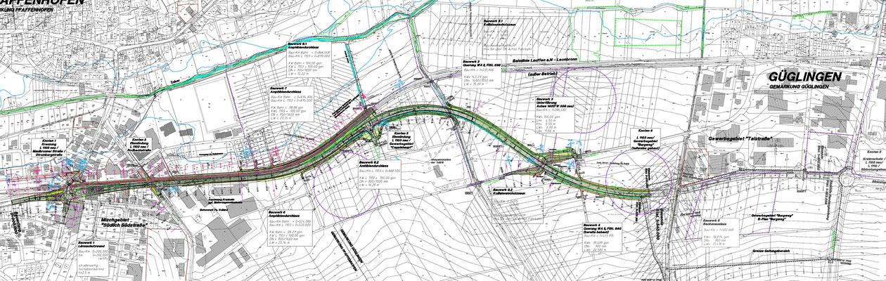 Planfeststellung L1103 ab neuem Knoten in Pfaffenhofen, Verlegung Bahntrasse, Anbindung neues Gewerbegebiet, Verlauf nördlich Umspannwerk, Knoten am Gewerbegebiet Burgweg u.a. mit Layher Werk 2