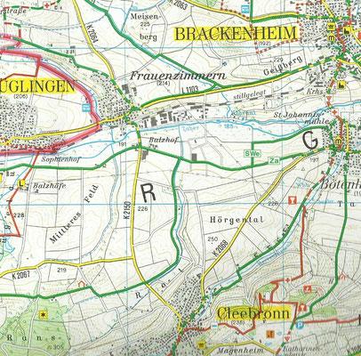 Trügerische Fahrt durch Felder. Die Karte zeigt noch nicht den Endausbau von Langwiesen auf über 50 Hektar