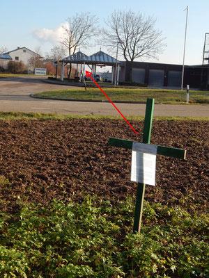 Grünes Kreuz in Sichtweite von TAXIS und Langwiesen IV mit der Fläche für Layher Werk 3