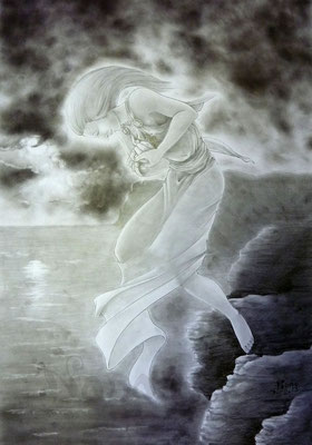 Sappho throwing herself from the cliffs (interpretation) - Sold