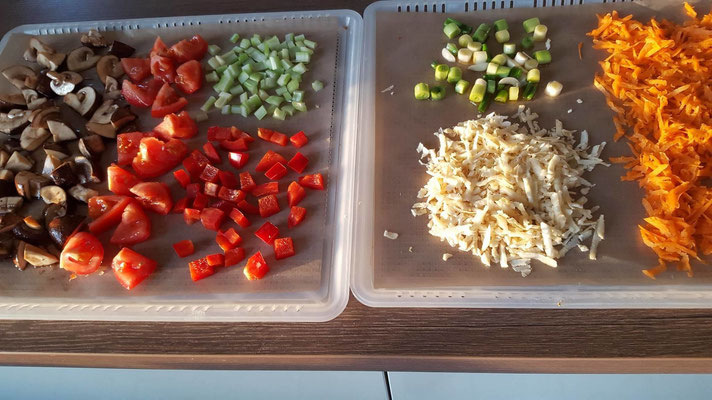 Gemüse vor dem dörren