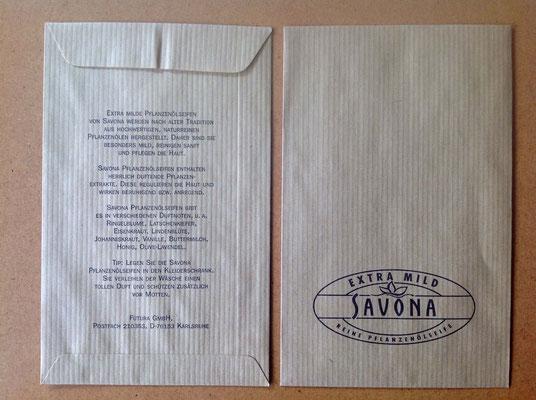 Marken- und Packungs-Design für Savona Seifen Sortiment, Produkttüte, dm-drogeriemarkt, Karlsruhe. Susanne Barth für Young & Rubicam Werbeagentur, Frankfurt