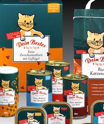 Marken- und Packungs-Design für Dein Bestes-Katzenfutter-Range, dm-drogeriemarkt, Karlsruhe. Susanne Barth für Young & Rubicam Werbeagentur, Frankfurt