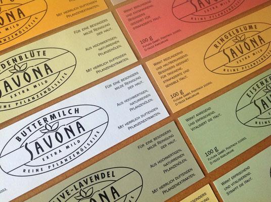 Marken- und Packungs-Design für Savona Seifen Sortiment, Etiketten, dm-drogeriemarkt, Karlsruhe. Susanne Barth für Young & Rubicam Werbeagentur, Frankfurt