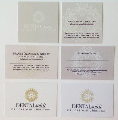 Corporate Design für Zahnarztpraxis Dental Spirit, Frankfurt, Visitenkarten  © Susanne Barth, The Creative Associates