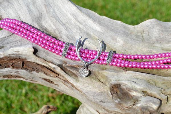 Kropfband Hirschgeweih pink