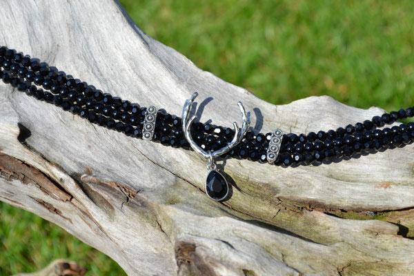 Kropfkette schwarz Perlen