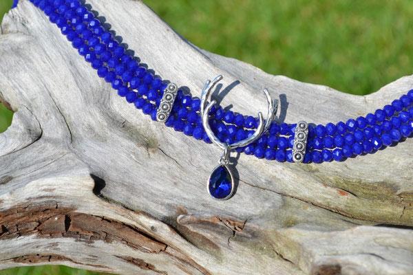 Kropfkette Hirschgeweih blau