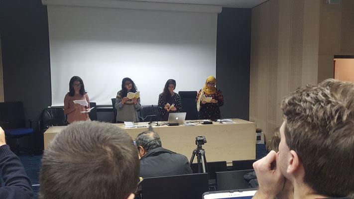 Lecture de deux chapitres de La Chose publique, en français, algérien, syrien, traduits par les étudiantes de l'Atelier de traduction de Touriya Filli-Tullon - Lyon2