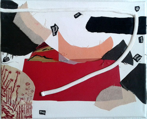 """Eva Hradil """"El camino"""" 2017, prendas con emoción en lienzo, 24 x 30 cm"""