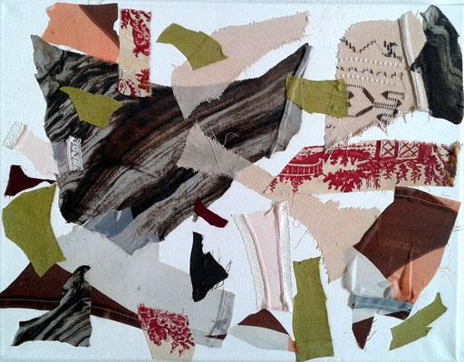 """Eva Hradil """"Soportar des (b.) Aires"""", 2017, prendas con emoción en lienzo, 35 x 45 cm"""