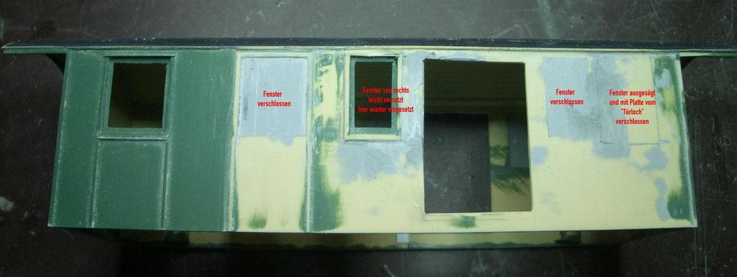 Und auf dieser Seite ist dann auch noch ein Fenster zu versetzen. Jetzt wird erst einmal tagelang verspachtelt und geschliffen