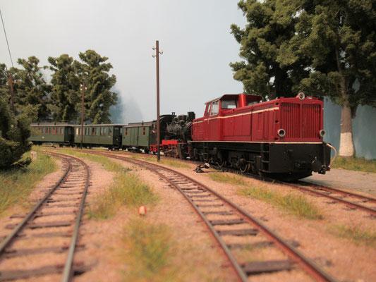 Von Wittower Fähre erfolgte dann die eigentliche  Lastprobefahrt als Vorspann vor einem regulären Personenzug nach Bergen Ost