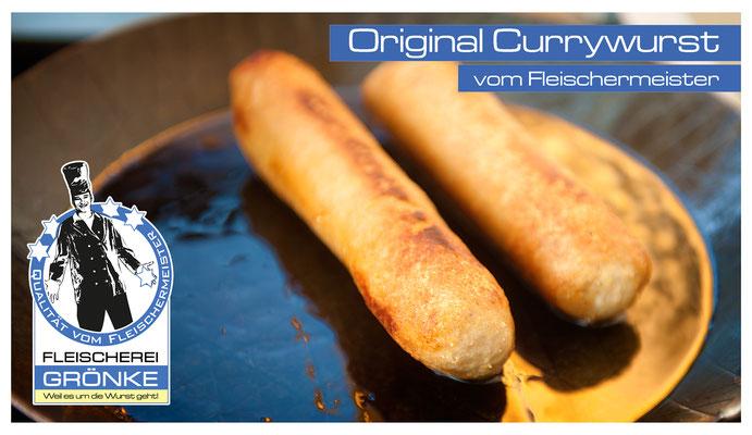 Currywurst, ohne Darm, im Stück