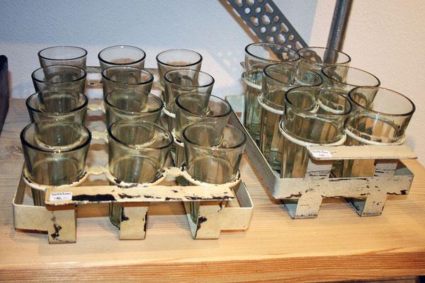 Glashalter aus Blech mit 6 oder 12 Spülmaschinenfesten Gläsern