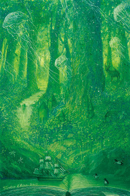 Page of Forest  [Postcard-size, Watercolor(gouache), 2015]