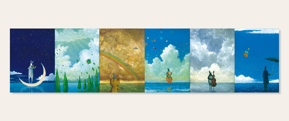 Littles - 「ヴァイオリンを弾くウサギ」「グリーンズがやってくる」「クワガタつかまえたピック」「アコーディオン弾きのペンギン」「ジョニー」「ボヘミアンとバルーンさん」  /  [mini canvas(70x100mm), Watercolor(gouache)+Acrylic gouache, 2016]