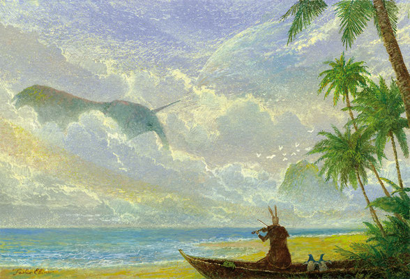 unicorn elephant in the dusk  [Postcard-size, Watercolor(gouache), 2017]