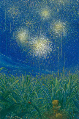fireworks of cornfield  [Postcard-size, Watercolor(gouache), 2015]