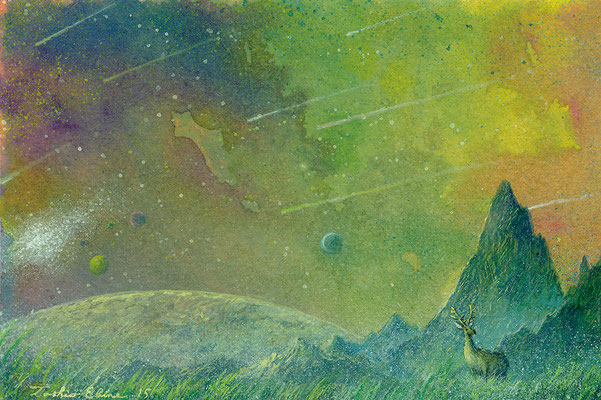 near the nebular  [Postcard-size, Watercolor(gouache), 2015]