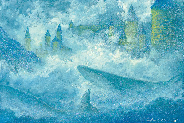 misty whale  [Postcard-size, Watercolor(gouache), 2015]