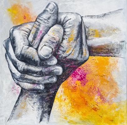 """""""festhalten, Halt finden, zusammenhalten...II"""", 2021, 80 x 80 cm, Acryl auf Leinwand"""