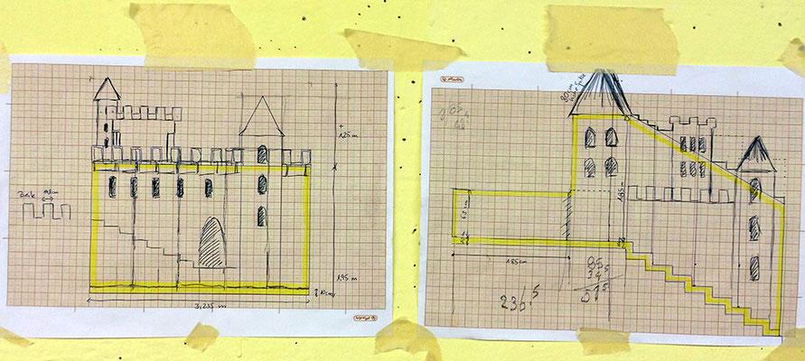 Der genaue Plan für unsere Burg ist fertig.