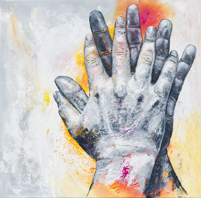 """""""festhalten, Halt finden, zusammenhalten...III"""", 2021, 80 x 80 cm, Acryl auf Leinwand"""