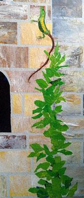 Ganze Kletterpflanzen aus abstrakt bemaltem Papier, werden nach dem Ausreißen aufgeklebt.