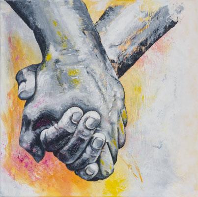 """""""festhalten, Halt finden, zusammenhalten...I"""", 2021, 80 x 80 cm, Acryl auf Leinwand"""
