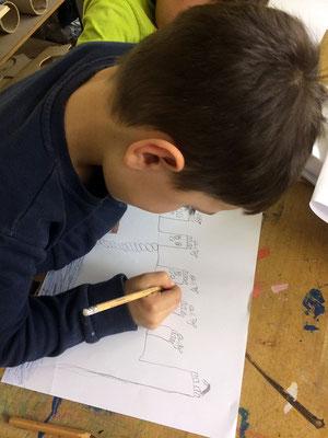 Alle planen mit und zeichnen zuerst eine Burg nach ihren Vorstellungen.