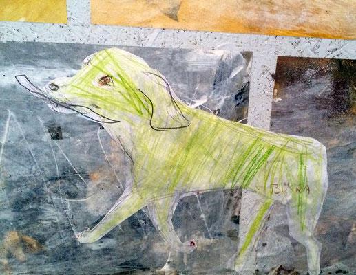 In der zweiten Phase entstehen Tiere, die in der Burg leben. Auch ein grüner Fantsie-Hund.