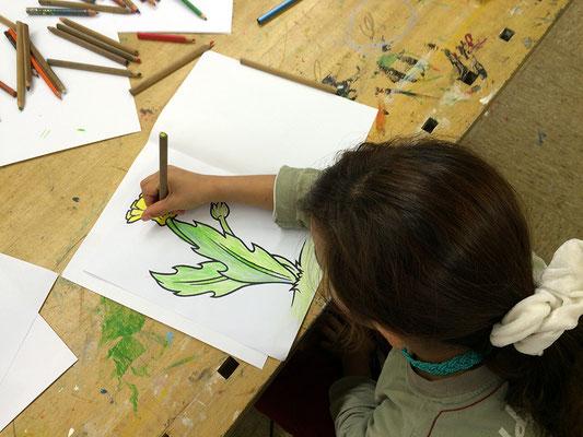 Im dritten Abschnitt malen wir Pflanzen.