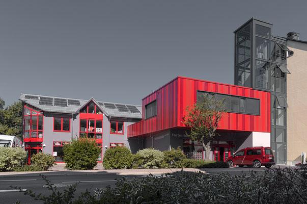 Außenaufnahme, Architektur Firma Farben Schröder, Ilmenau