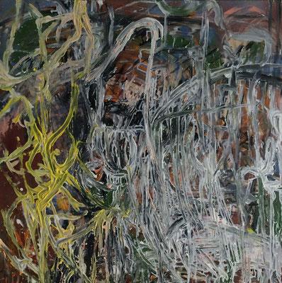 Maria Vogl, Flechtung gelb, 80,0x80,0 cm