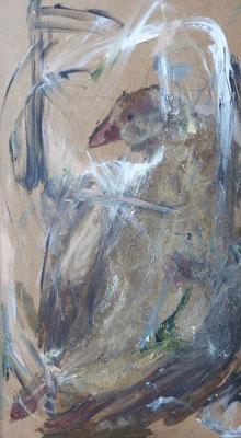 o. T., Maria, Übermalung Öl, 41,0 x 70,0 cm