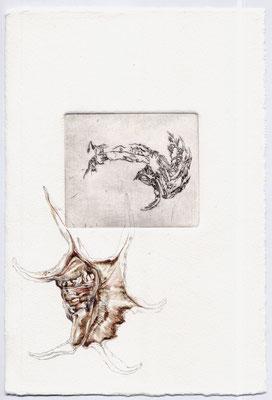KREBS UND GROSSER BOOTSHAKEN, Mirjam, Kaltnadelradierung, Aquarell, 21,0 x 29,7 cm