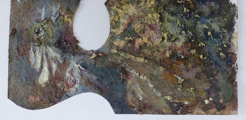 Fetzenfisch, 24,0 x 12,0 cm, Öl auf Palette