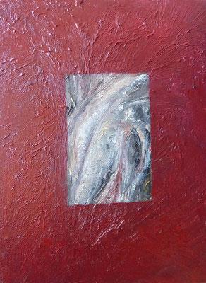 WELTFENSTER II, Maria, Übermalung Öl, 18,0 x 29,5 cm
