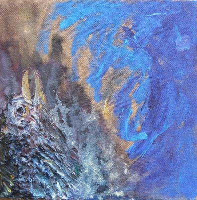 STURMVOGEL,Maria,  Öl, Acryl, 23,0 x 23,0 cm