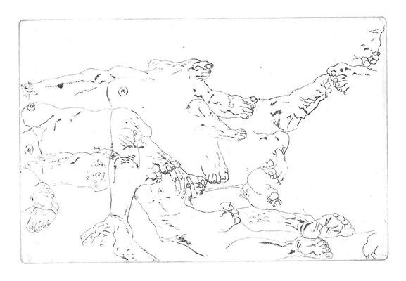 Körper, 14,8 x 9,9 cm, Kaltnadelradierung